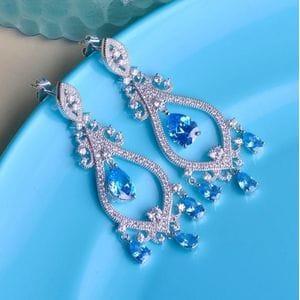 Серьги-люстры с голубыми фианитами арт.SR0127