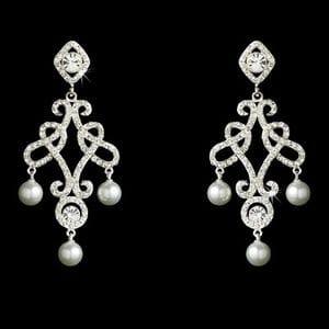 Серьги-люстры с кристаллами и жемчугом арт.SR0058