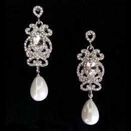 Серьги с жемчугом и кристаллами арт.SR0507
