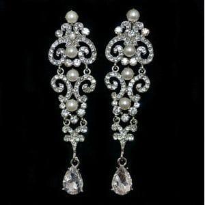 Серьги-люстры с кристаллами и жемчугом арт.SR0543
