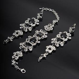 Набор браслет и серьги с черными кристаллами
