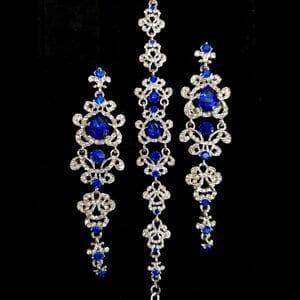 Набор браслет и серьги с синими кристаллами