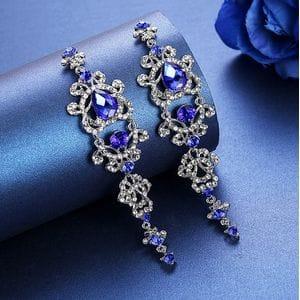 Серьги-люстры с синими кристаллами