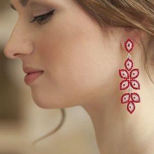 Серьги-люстры с красными кристаллами