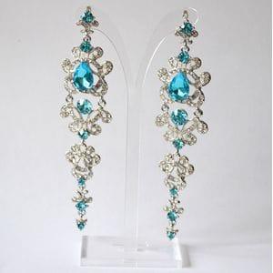 Серьги-люстры с голубыми кристаллами