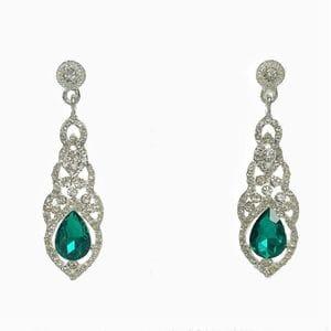 Серьги с зелеными кристаллами арт.SR0694